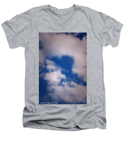 Men's V-Neck T-Shirt featuring the photograph Heart In The Clouds by Tara Potts