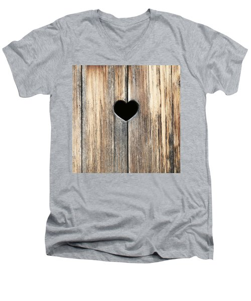 Men's V-Neck T-Shirt featuring the photograph Heart In Wood by Brooke T Ryan