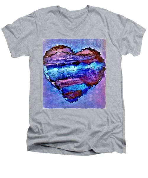 Heart Love Music Alcohol Inks  Men's V-Neck T-Shirt