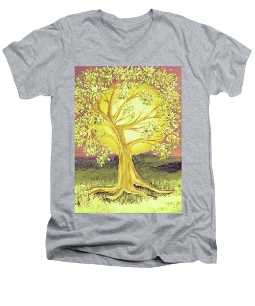 Heart Of Gold Tree By Jrr Men's V-Neck T-Shirt