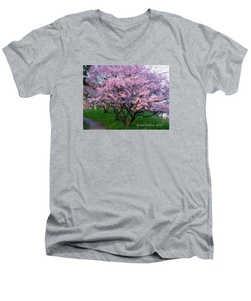 Men's V-Neck T-Shirt featuring the painting Heartfelt Cherry Blossoms by Bruce Nutting