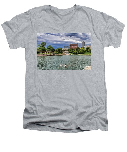 Heartland Of America Park Men's V-Neck T-Shirt by Elizabeth Winter