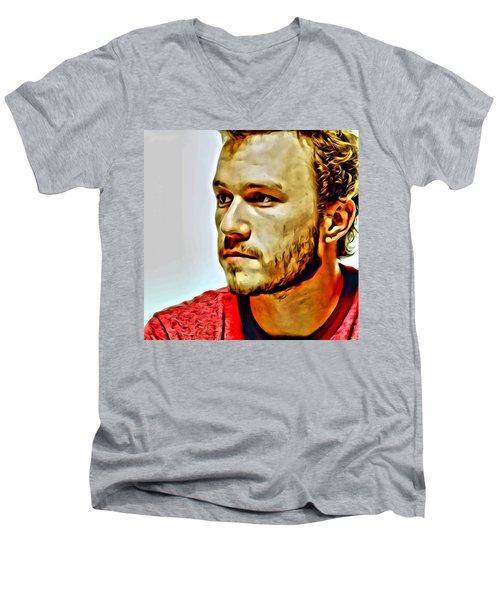 Heath Ledger Portrait Men's V-Neck T-Shirt by Florian Rodarte