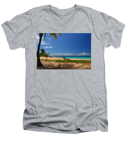 Heavenly Haena Beach Men's V-Neck T-Shirt by Marie Hicks