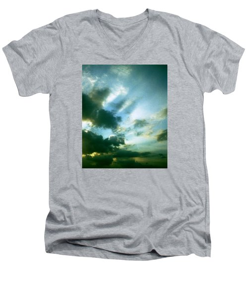 Golden Heavenly Rays Men's V-Neck T-Shirt by Belinda Lee