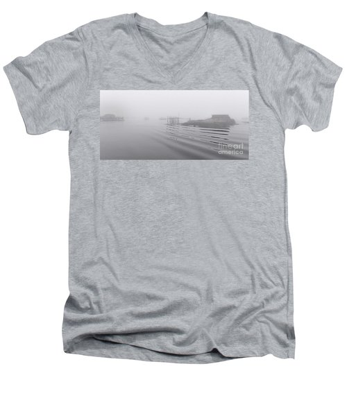 Men's V-Neck T-Shirt featuring the photograph Heavy Fog And Gentle Ripples by Marty Saccone