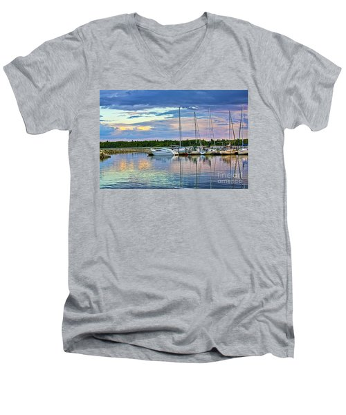 Men's V-Neck T-Shirt featuring the photograph Hecla Island Boats II by Teresa Zieba
