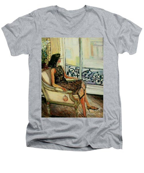 Heddy Men's V-Neck T-Shirt by Helena Bebirian
