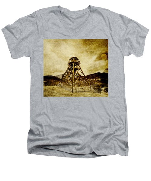 Helena-montana-fire Tower Men's V-Neck T-Shirt