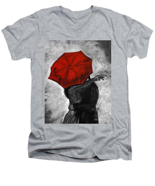 Hello Hello Men's V-Neck T-Shirt by Leslie Allen