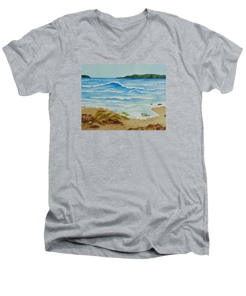 Men's V-Neck T-Shirt featuring the painting Hello? by Katherine Young-Beck