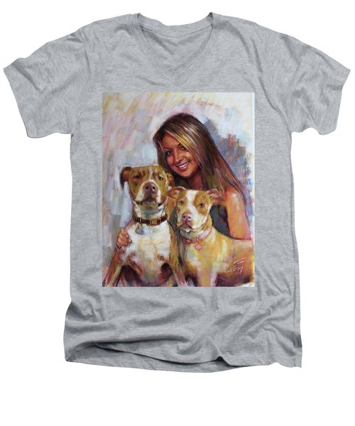 Men's V-Neck T-Shirt featuring the drawing Her Best Friends by Viola El