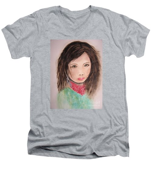 Men's V-Neck T-Shirt featuring the painting Her Expression Says It All by Chrisann Ellis