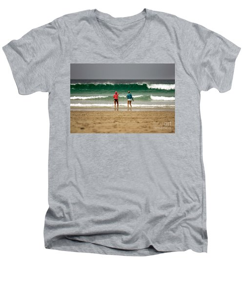 Men's V-Neck T-Shirt featuring the photograph Here Comes The Big One by Terri Waters
