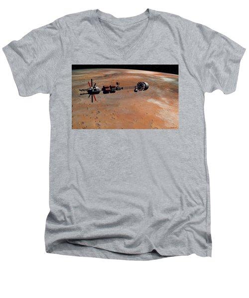 Hermes1 Orbiting Mars Men's V-Neck T-Shirt by David Robinson
