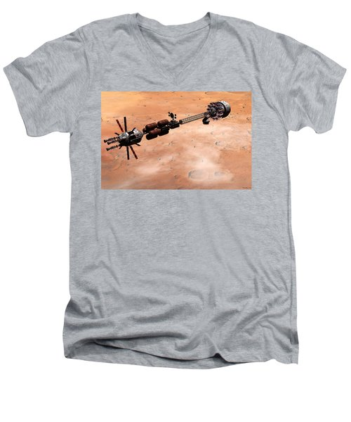 Hermes1 Over Mars Men's V-Neck T-Shirt by David Robinson