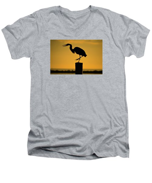 Heron At Sunrise Men's V-Neck T-Shirt