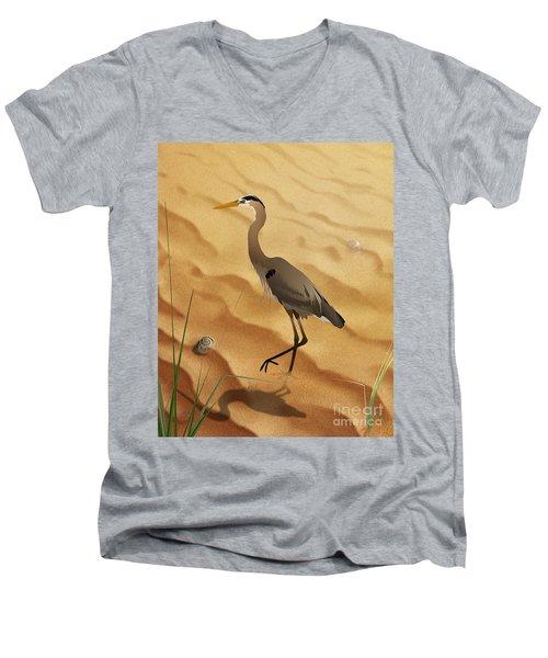 Heron On Golden Sands Men's V-Neck T-Shirt