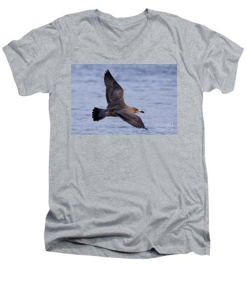 Men's V-Neck T-Shirt featuring the photograph Herring Gull In Flight Photo by Meg Rousher