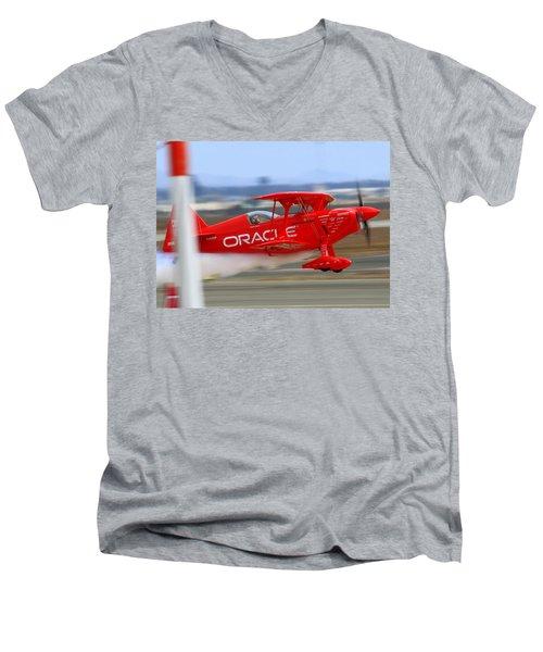 Hi Speed Low Pass By Sean Tucker At Salinas Ksns Air Show Men's V-Neck T-Shirt