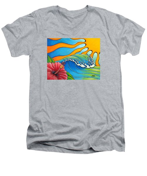 Hibiscus Wave Men's V-Neck T-Shirt