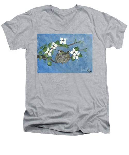 Men's V-Neck T-Shirt featuring the painting Hidden Jewel by Ella Kaye Dickey