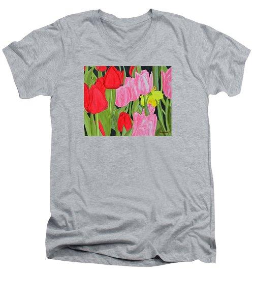 Hide 'n Seek Men's V-Neck T-Shirt by Donna  Manaraze