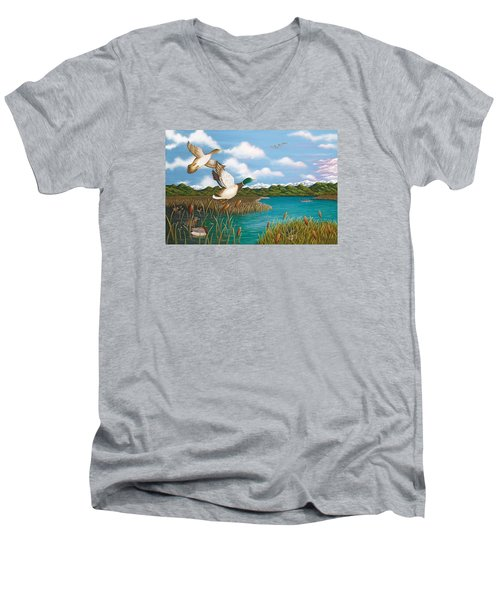 Hiding Out Men's V-Neck T-Shirt by Katherine Young-Beck