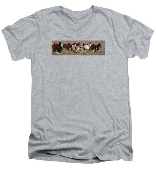 High Desert Horses Men's V-Neck T-Shirt by Diane Bohna