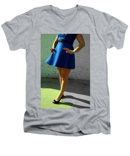 High Heels And A Blue Skirt Men's V-Neck T-Shirt