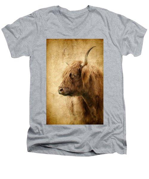 Highland Bull Men's V-Neck T-Shirt by Athena Mckinzie