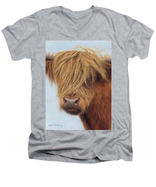 Highland Cow Painting Men's V-Neck T-Shirt
