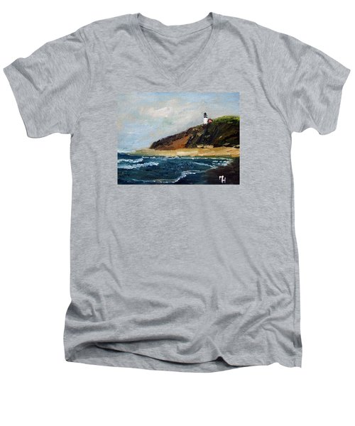 Men's V-Neck T-Shirt featuring the painting Highland Light by Michael Helfen