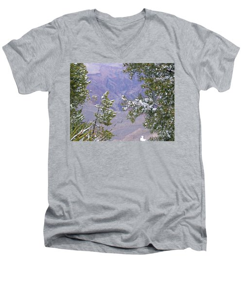 Men's V-Neck T-Shirt featuring the photograph Highlighting Snow by Roberta Byram