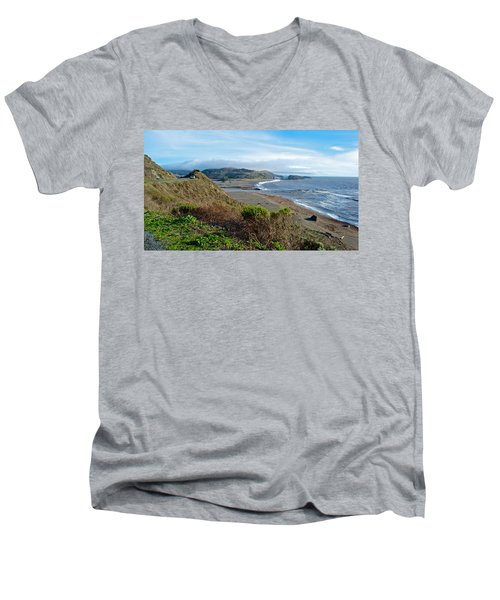 Highway 1 Near Outlet Of Russian River Into Pacific Ocean Near Jenner-ca  Men's V-Neck T-Shirt by Ruth Hager