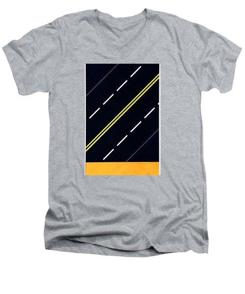 Highway Men's V-Neck T-Shirt by Thomas Gronowski