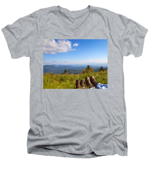 Hikers With A View On Round Bald Near Roan Mountain Men's V-Neck T-Shirt