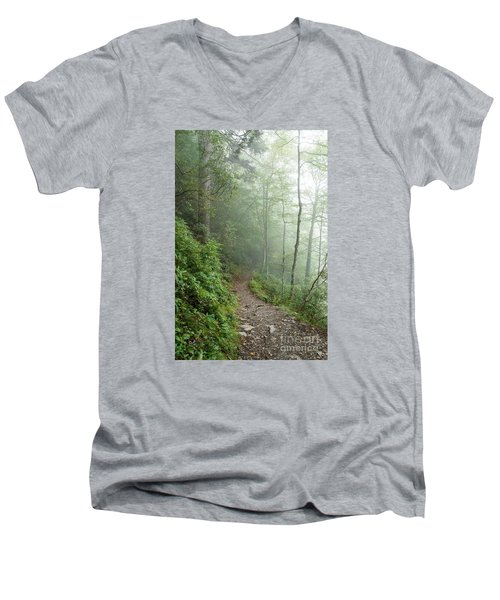 Hiking In The Clouds Men's V-Neck T-Shirt by Debbie Green