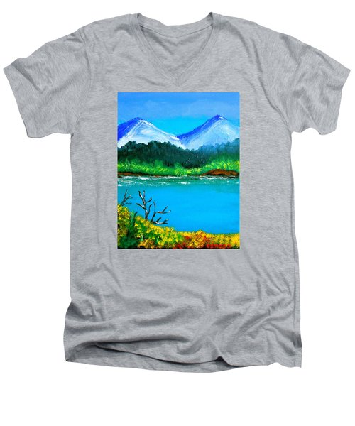 Men's V-Neck T-Shirt featuring the painting Hills By The Lake by Cyril Maza