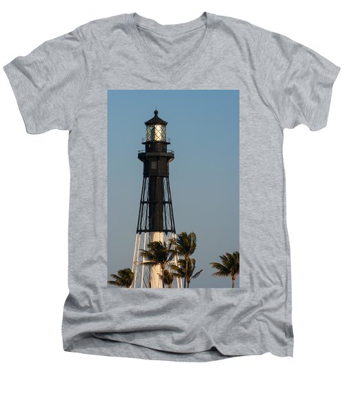 Hillsboro Inlet Lighthouse In The Evening Men's V-Neck T-Shirt by Ed Gleichman