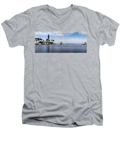 Hillsboro Inlet Lighthouse Panorama Men's V-Neck T-Shirt