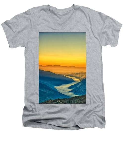 Himalaya In The Morning Light Men's V-Neck T-Shirt by Ulrich Schade