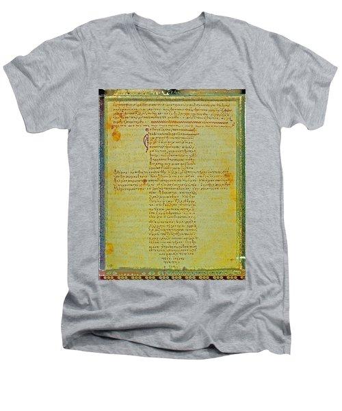 Hippocratic Oath On Vintage Parchment Paper Men's V-Neck T-Shirt