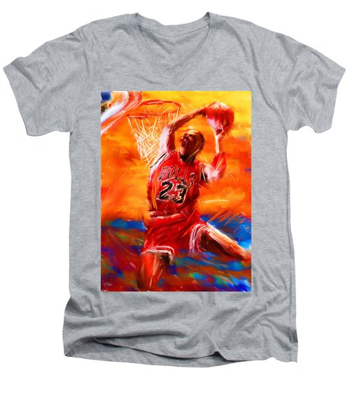 His Airness Men's V-Neck T-Shirt by Lourry Legarde