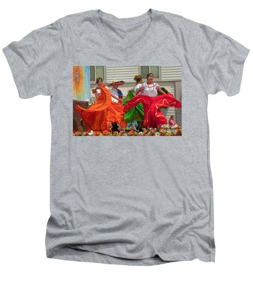 Hispanic Women Dancing In Colorful Skirts Art Prints Men's V-Neck T-Shirt by Valerie Garner