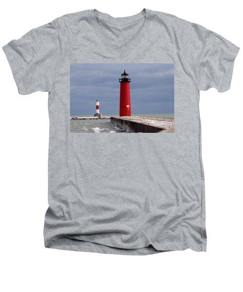 Men's V-Neck T-Shirt featuring the photograph Historic Pierhead Lighthouse by Kay Novy
