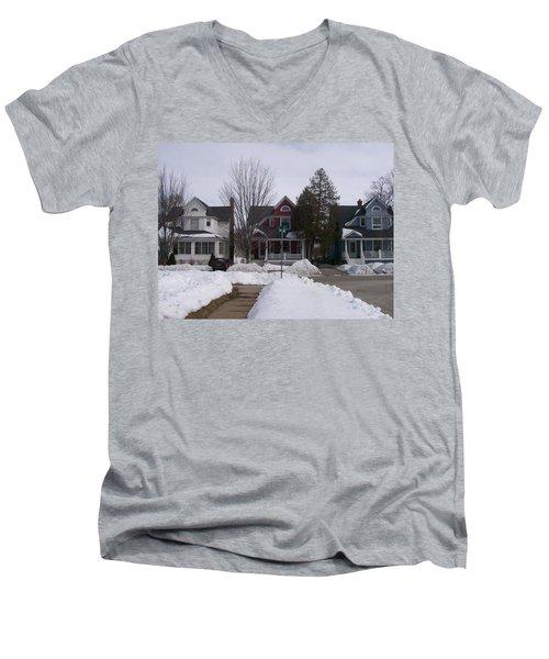 Historic Seventh Street Menominee Men's V-Neck T-Shirt by Jonathon Hansen