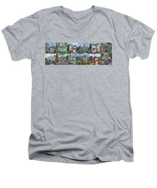 Historical Homes Men's V-Neck T-Shirt by Linda Weinstock