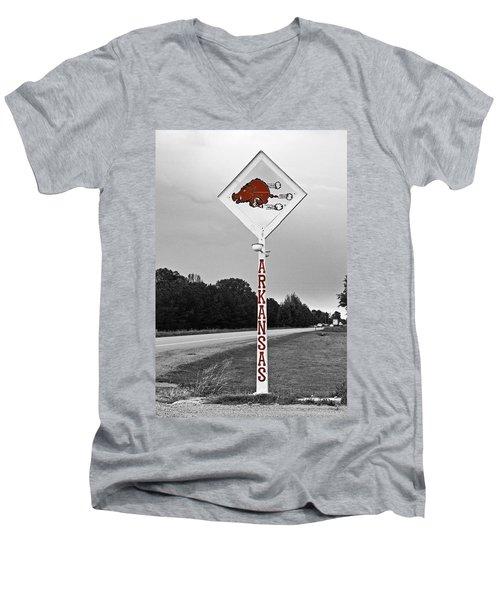 Hog Sign Men's V-Neck T-Shirt by Scott Pellegrin