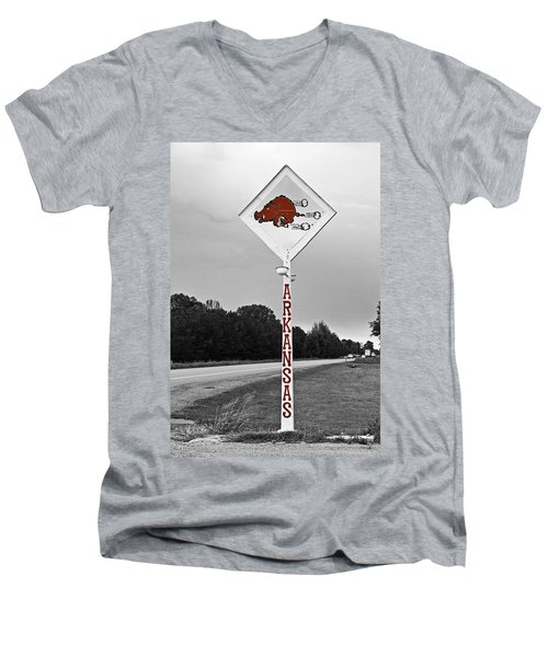 Hog Sign - Selective Color Men's V-Neck T-Shirt